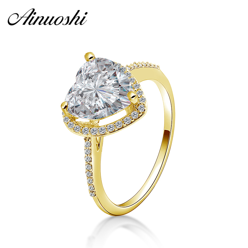 AINUOSHI Solid 14K Yellow Gold Heart Halo Ring 2.5 Carat Heart Cut Wedding Engagement Anillo Real 14K Solid Gold Ring for WomenAINUOSHI Solid 14K Yellow Gold Heart Halo Ring 2.5 Carat Heart Cut Wedding Engagement Anillo Real 14K Solid Gold Ring for Women