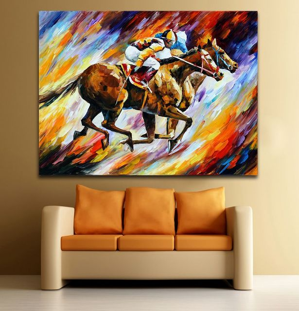 100 Handpainted Modern Palette Knife Painting Horse Racing Male