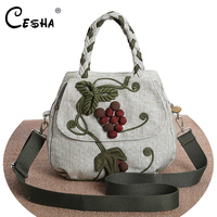 CESHA Fashion Embroidery Grape Design Women Handbag High Quality Cotton Linen Fabric Shoulder Bag Female Leisure Weaving Handbag