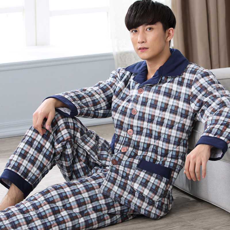 Autumn Winter Men Pajamas Sets Thicke Warm Plaid Cotton Pyjamas Long Sleeve Lounge Wear Comfortable Sleepwear