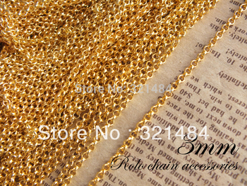 wholesale 3mm rolo chain 100m/lot gold plated chain findings in bluk nickel free and lead free
