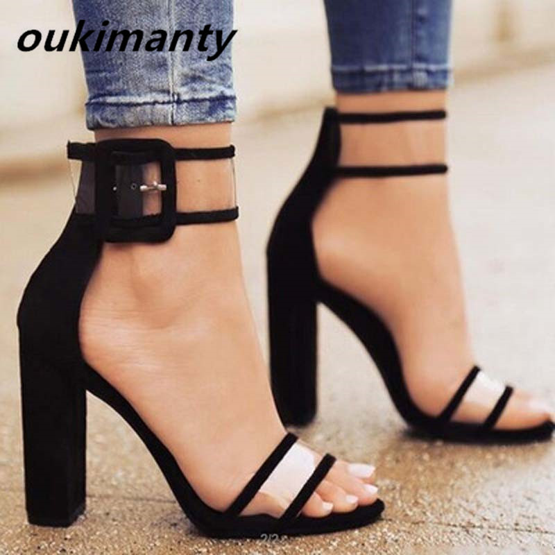 509e62c341f Women Sandals Platform Gladiator High Heels Clear Buckle Strap Spring  Summer Sexy Shoes Woman Casual Fashion Black  Y0606782Q