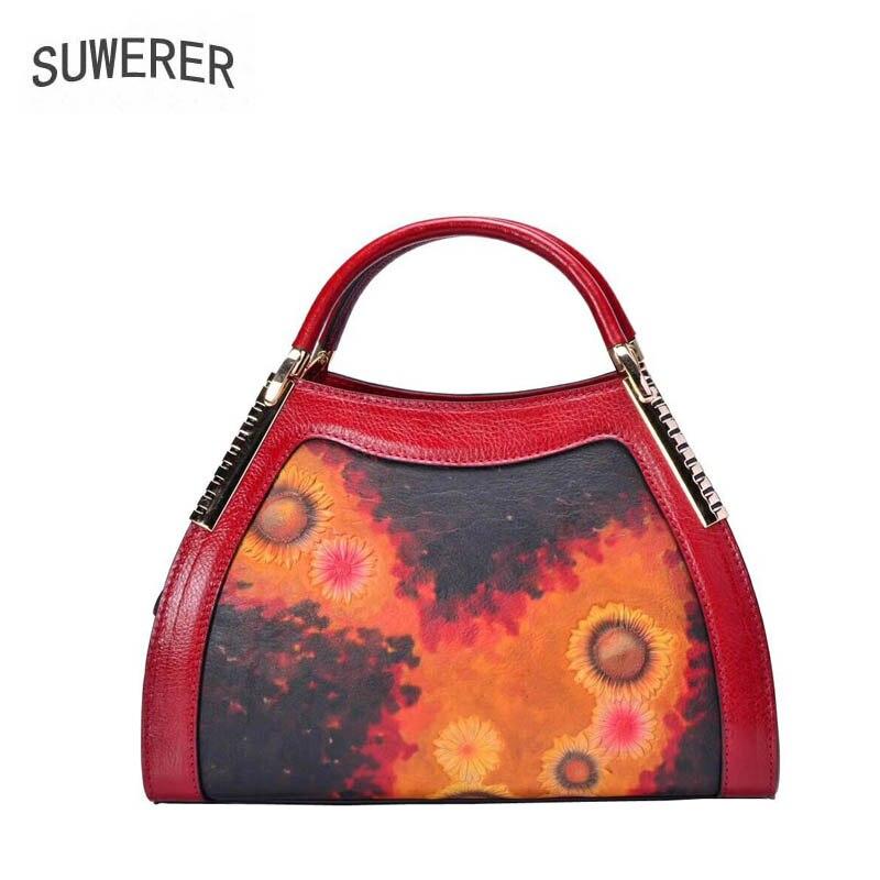 SUWERER 2019 New women genuine leather bags fashion Handmade Embossing top cowhide luxury designer women leather handbags