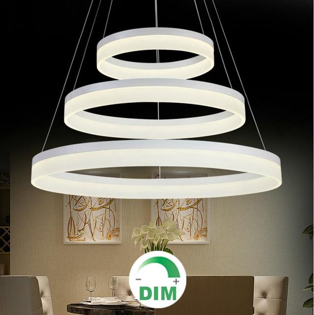 fr restaurant foyer schlafzimmer esszimmer runden ring led hngelampe moderne dimmen dimmbare led kronleuchter licht - Kronleuchter Fur Foyer