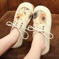 Оригинальные Женщин Обувь Одного Ручной Работы Хлопок Повседневная Обувь Подсолнечника шнуровке Выстроились Обувь Плоским Дышащий Удобные для Ног