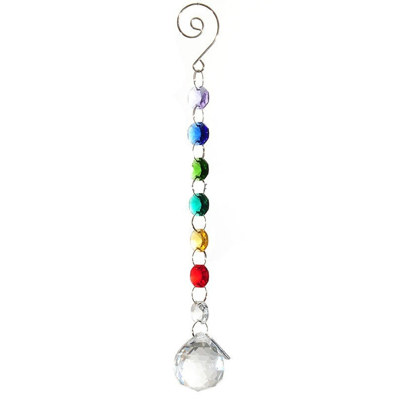 "Rainbow Color Crystal Ball Suncatcher Prisms Pendant Glass Art Pendulum Multicolor Wedding Decor 9"" Long"