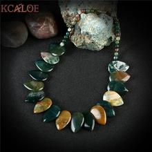 цена на KCALOE Colorful India Agate Necklace Hyperbole Big Natural Stone Vintage Accessories Collares Mujer 2017 Chokers Necklaces