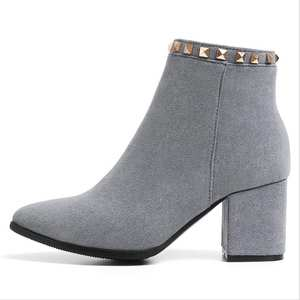 0c2842399c8 EIOUPI winter suede women thick heel pointed toe ankle boot