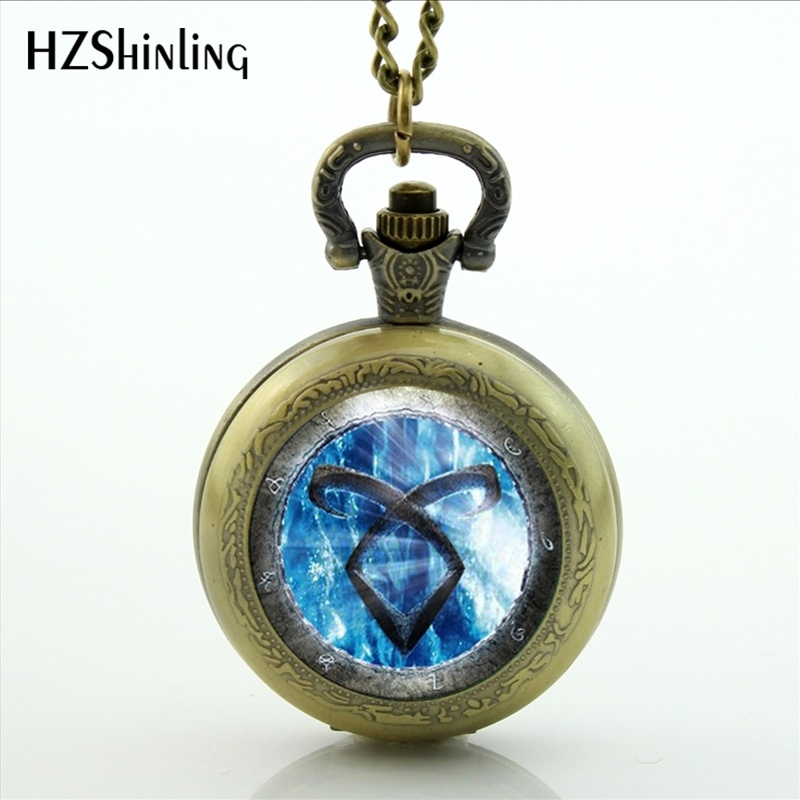 The Mortal Instruments City of Bones Photo Locket Necklace Vintage Angelic Power Runes Shadowhunters Pocket Watch Necklace