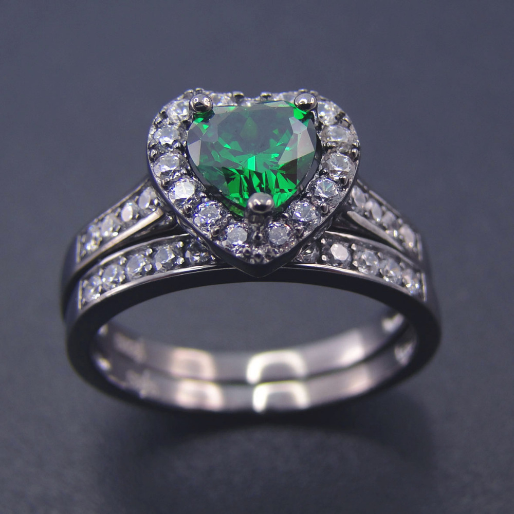 women jewelry wedding rings 100 925 sterling silver ring sets green heart shape ring cubic zirconia engagement jewelry ring set - Heart Wedding Ring Set