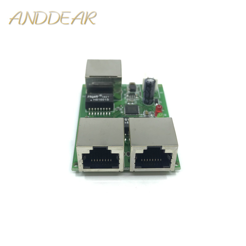 Low-cost Network Wiring Box Data Conversion Distance Extension Mini Ethernet 3 Port 10/100Mbps Switch Module Splitter Network