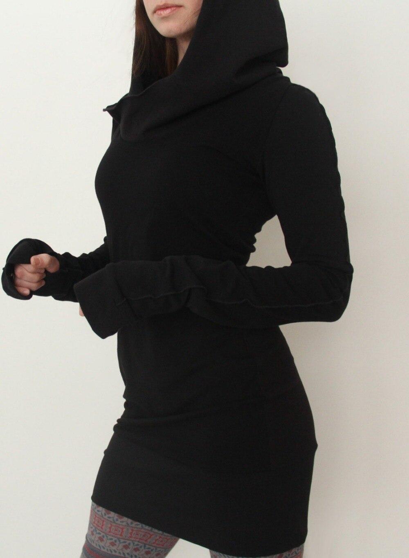 Sheintrend Novelty Dress 2017 Women Autumn Winter New Arrival Black Gothic Dresses Hole Long Sleeve Loose Hooded Mini Dress 1