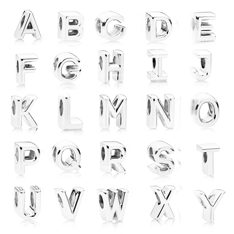 Sonykifa 2pcs/lot New English Alphabet Letter A-z Crystal Charm Bead Fit Original Pandora Bracelet Necklace Authentic Jewelry Jewelry & Accessories Beads & Jewelry Making
