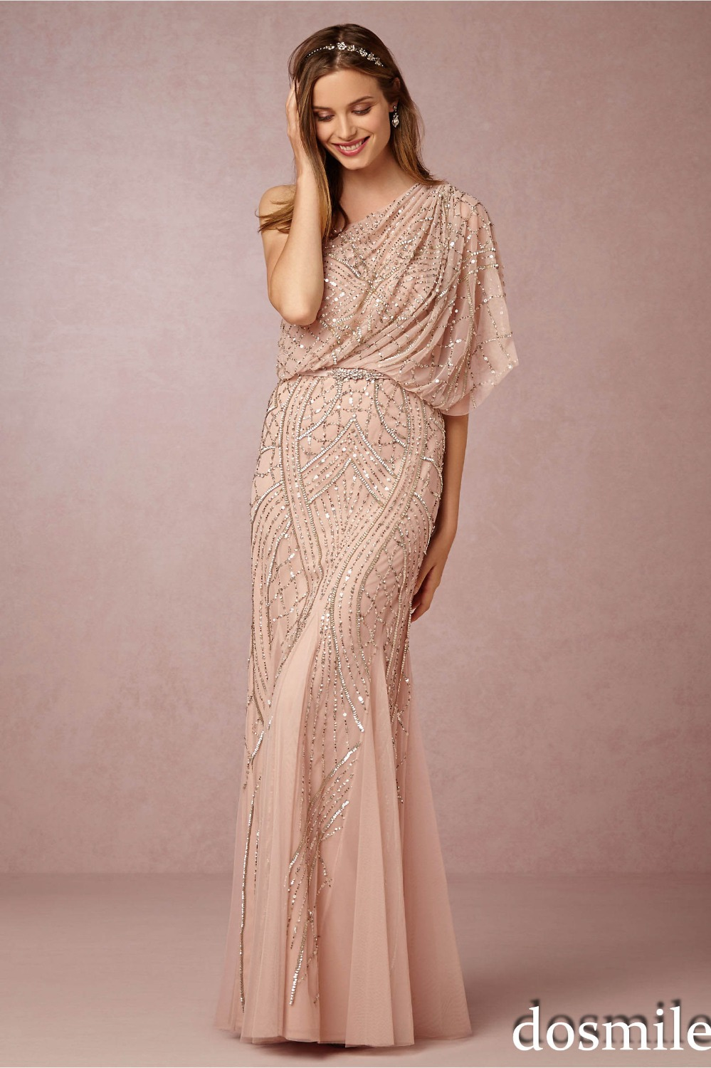 2016 Gorgeous Champagne Gold Sequin Bridesmaid Dresses One Shoulder