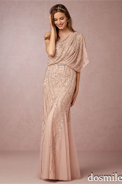 8cc9e731188 2016 Gorgeous champagne gold sequin bridesmaid dresses one shoulder floor  length A-line beaded plus size wedding party gown