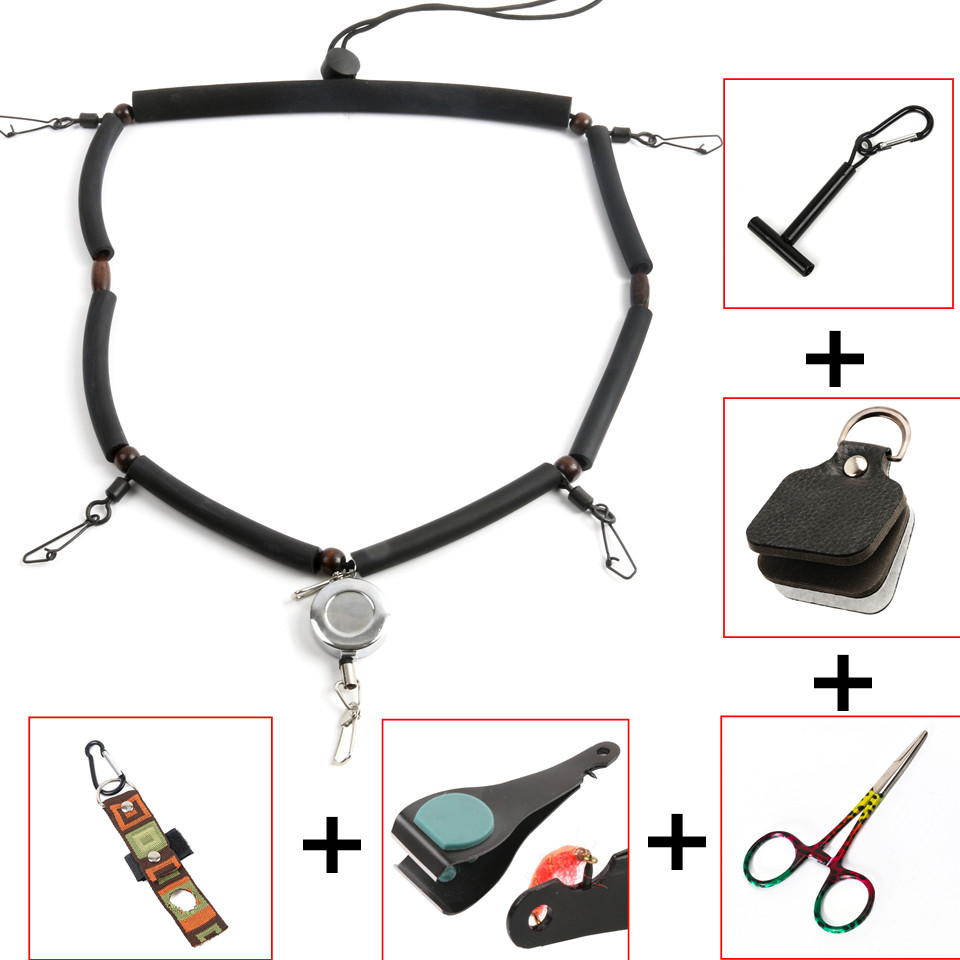 Maximumcatch High Quality Fly Fishing Lanyard With Zinger Tippet Holder Line Nipper Forceps Bottle Holder Fly Fishing Accessory