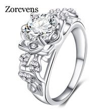 88a825b61055 ZORCVENS 2019 nueva moda Color plata exquisita Flor de moda boda y anillo de  compromiso Zirconia cúbica joyería