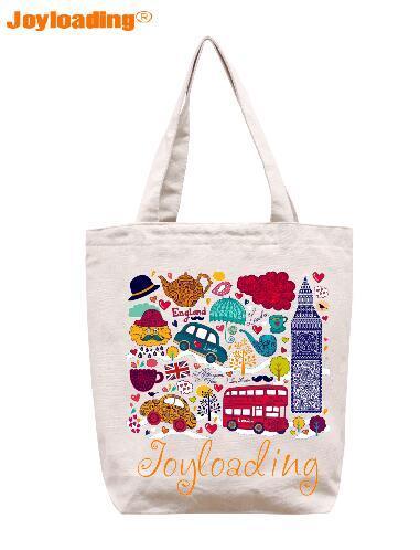 Joyloading Home Creative Cartoon Uk Tourists Factors Design Reusable Grocery Ping Bag Zipper Closure Foldable Tote