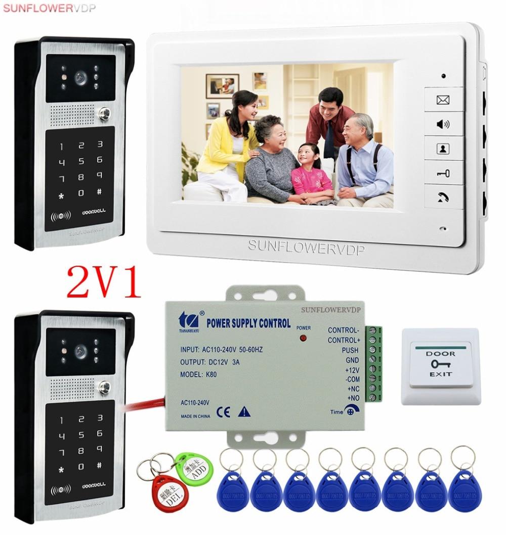 "For 2 Doors Intercom Video Intercoms Rfid Keypad Camera Video Call Intercom Door With 7"" Color Indoor Monitor Videophone Wired"