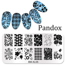 Pandox Nail Art Stamping Image Plates Big Flowers Patterns Stainless Steel High Quality DIY Stamping Template chaomao design size xl nail art stamping plates stainless steel image konad stamping nail art large big template diy plates