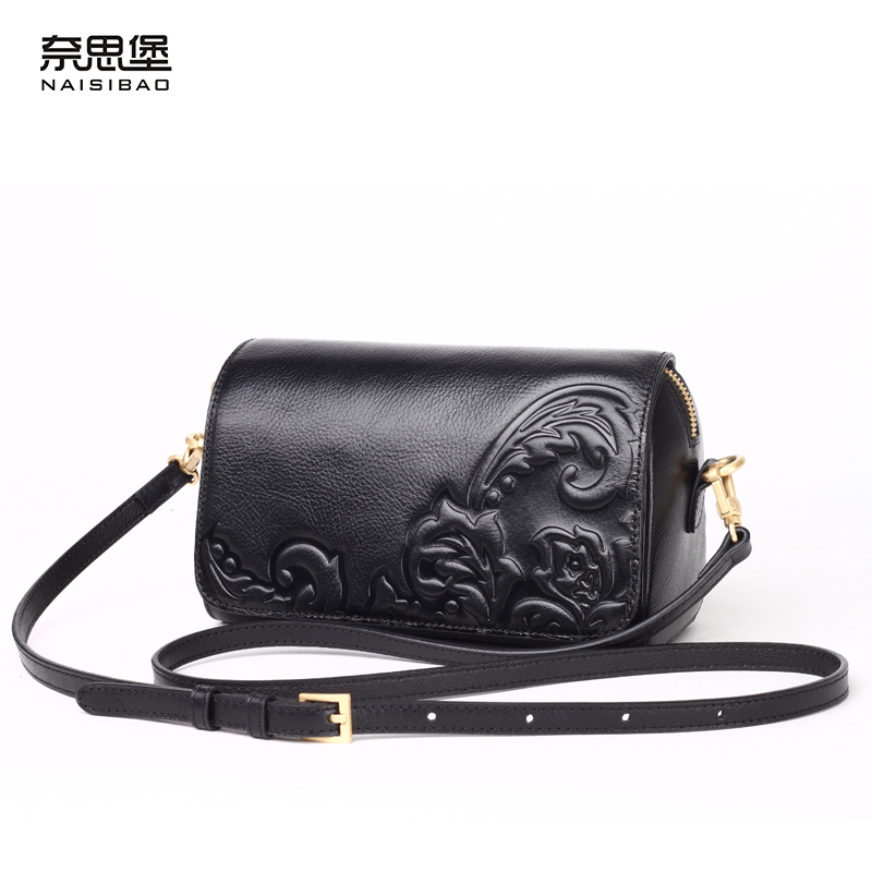 e49b6d95b0 High quality Chinese style Genuine leather fashion female name brand  pattern handbag Vintage shoulder Messenger Bag women-in Shoulder Bags from  Luggage ...
