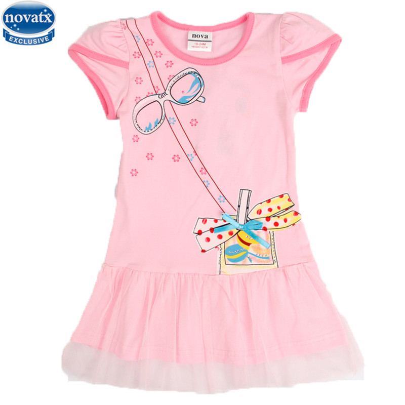 все цены на  Nova kids wear 2015 new novely design pink short sleeve girl dress summer fashion kids dress  онлайн