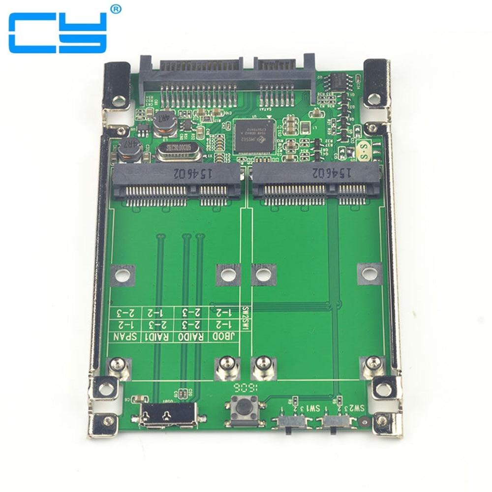 10pcs/lot2.5Dual Mini pcie PCI-E pci express pci-express mSATA RAID SSD Adapter to SATA Raid 22pin & USB 3.0 Hardware RAID card l a raid