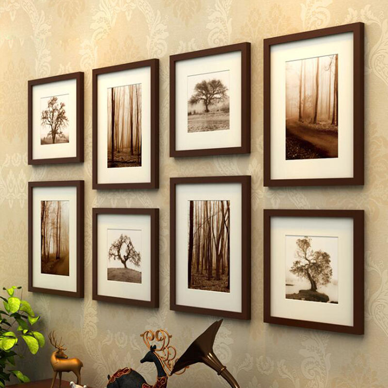 Us 145 35 8 Pcs Set Wooden Picture Frame Black Coffee Color Photo Wall Frames Painting Square And Rectangle Mixed Decoration In