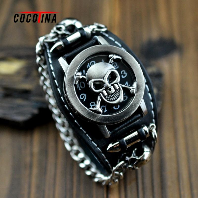 COCOTINA Black wide skull ancient bronze anti personality skull watch hip hop belt correa reloj bracelet