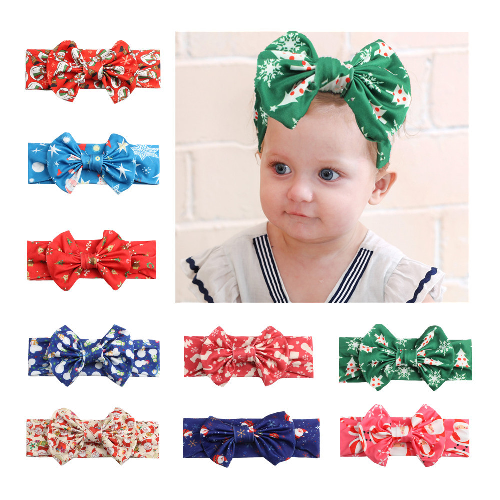 on sale 1pc 2017 New Christmas Elastic Newborn Baby Girls bows Headband Knot Hair Band Children Bowknot Headband bandeau bebe