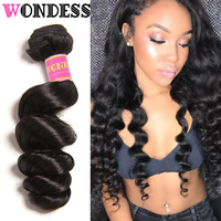 Indian Loose Wave Bundles Only 1 Piece Raw Human Hair Double Weft Virgin Hair Extensions Natural Color Wondess Hair 16 26inch