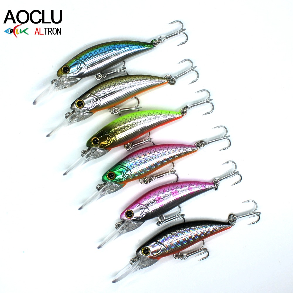 AOCLU Minnow Crankbait Fishing Tackle Wobbler Lures-Bass Water-Vmc-Hooks 6pcs/Lot 6-Colors