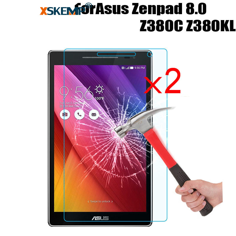 XSKEMP 2Pcs/Lot LCD Tablet Tempered Glass For ASUS ZenPad 8.0 Z380C Z380KL Anti Shatter 9H Hardness Tablet Screen Protector Film|tablet tempered glass|tablet temper|tablet screen protector - title=