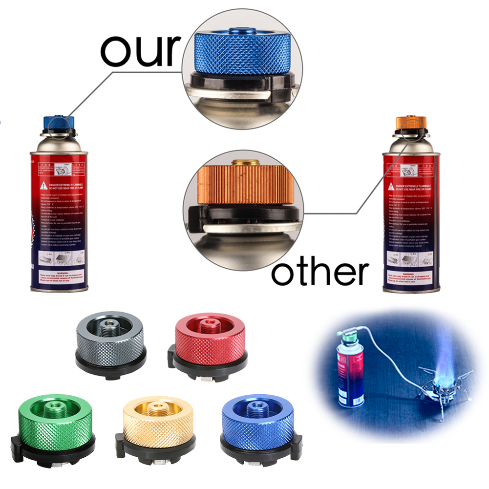 Stove Connector Outdoor Camping Gas Stove Picnic Burner Converter Adapter Connector Flat Gas Tank Convert to Long Cylinders