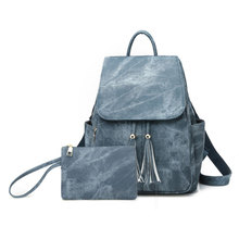 New trend PU leather womens backpack with Small bag tassle soft for school student teenage girls