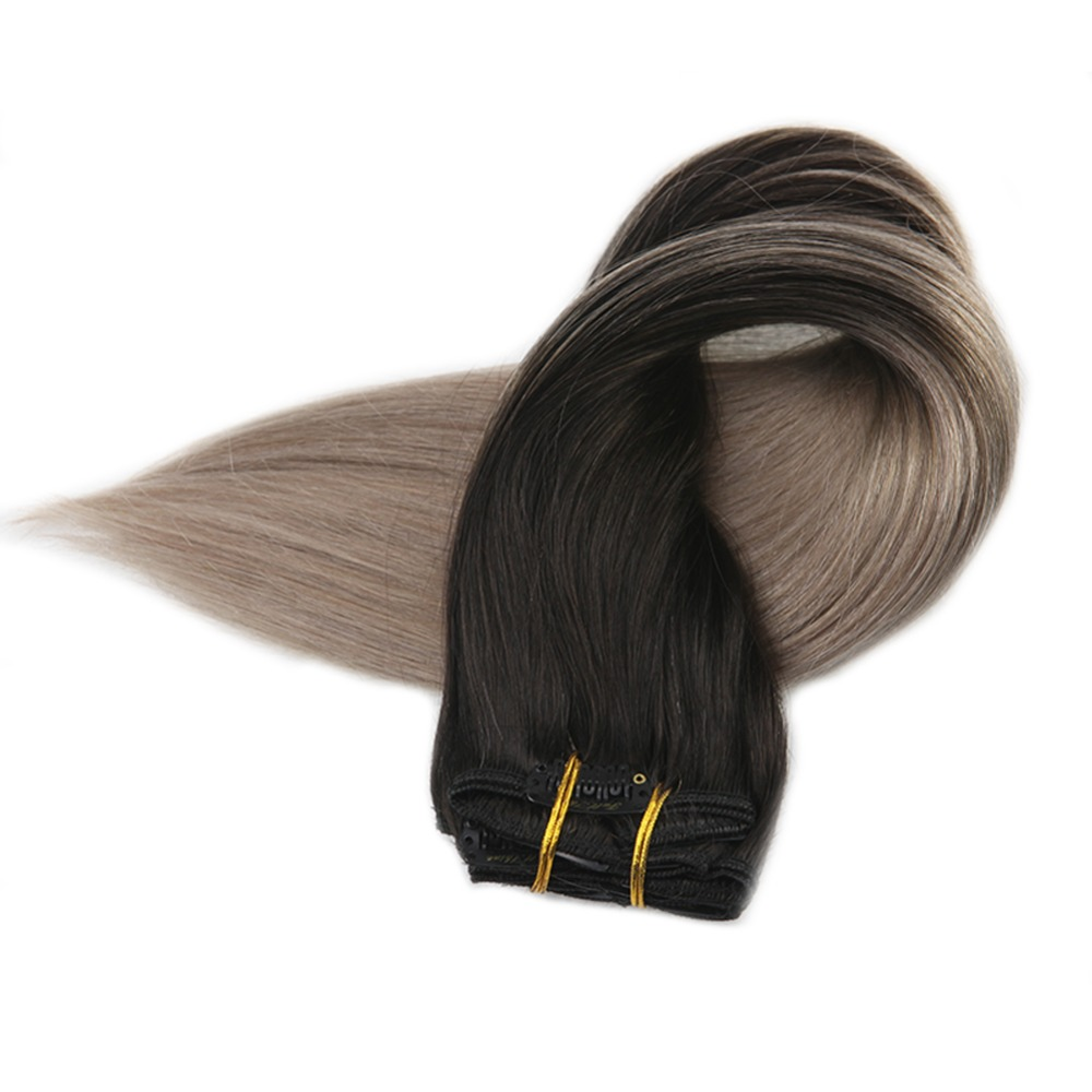 Full Shine Remy Human Hair Clip Extensions Dark Roots Ombre Color 1B Fading To 18 Blonde 120g 10Pcs Balayage Extensions Clip In