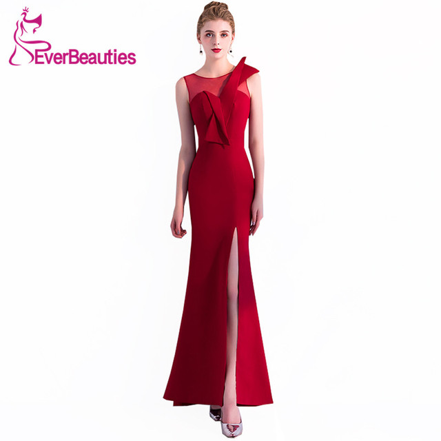 b5062ef6d12 Evening Dress Long 2019 Elegant Evening Gowns Mermaid Wine Red Sexy Side  Slit Robe De Soiree Prom Party Dresses