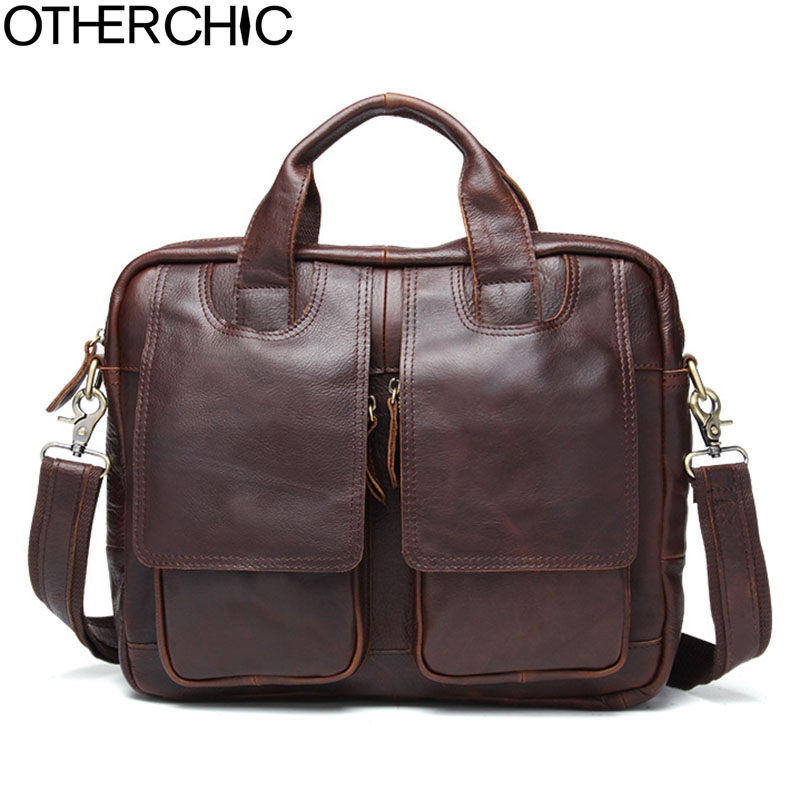 OTHERCHIC New Fashion Men Briefcase Portfolios Genuine Leather 12 Laptop Bag Business Messenger Bag Shoulder Handbag 17Y04-83 bvp free shipping new men genuine leather men bag briefcase handbag men shoulder bag 14 laptop messenger bag j5