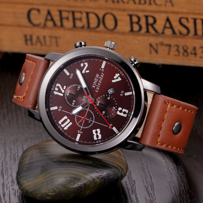 Excellent Quality XINEW Latest Design Fashion Casual Sports Quartz Men Watch Leather Wristwatch Relogio Masculino Montre Homme цена и фото