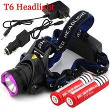 2000 Lumens CREE XM-L XML T6 LED Headlamp Headlight Flashlight Head Lamp Light + 2*18650 battery + charger + Car Charger