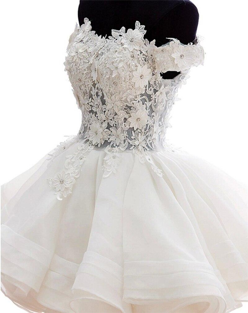 0343860b0 Sexy vestidos cortos de Encaje Cortos Vestidos de Baile Para Adolescentes  fiesta Off The Sholder Blanco Marfil Capas de Organza Vestidos de Partido  de Tarde ...