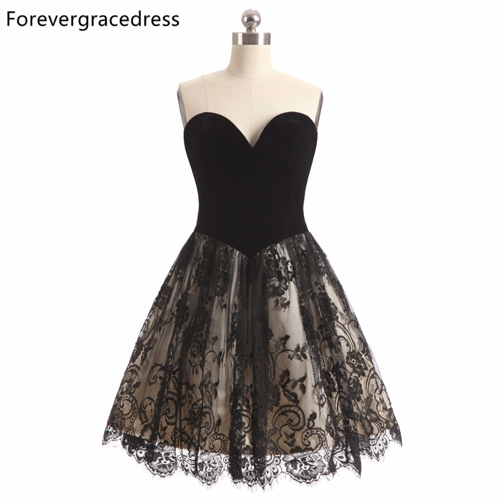 Forevergracedress 2018 A Line Black Color Lace Cocktail Dress Sexy Sleeveless Sweetheart Short Party Gown Plus Size Custom Made