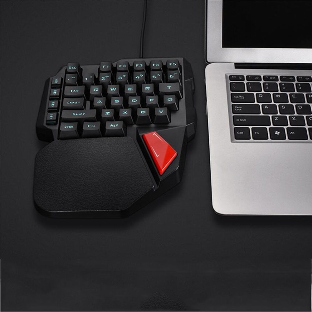 0bd65e7e7fb 38 Key Mechanical Feel Single Hand Keyboard Colorful Backlit Mini Ergonomic Gaming  Keyboard USB Wired for Desktop PC Laptop