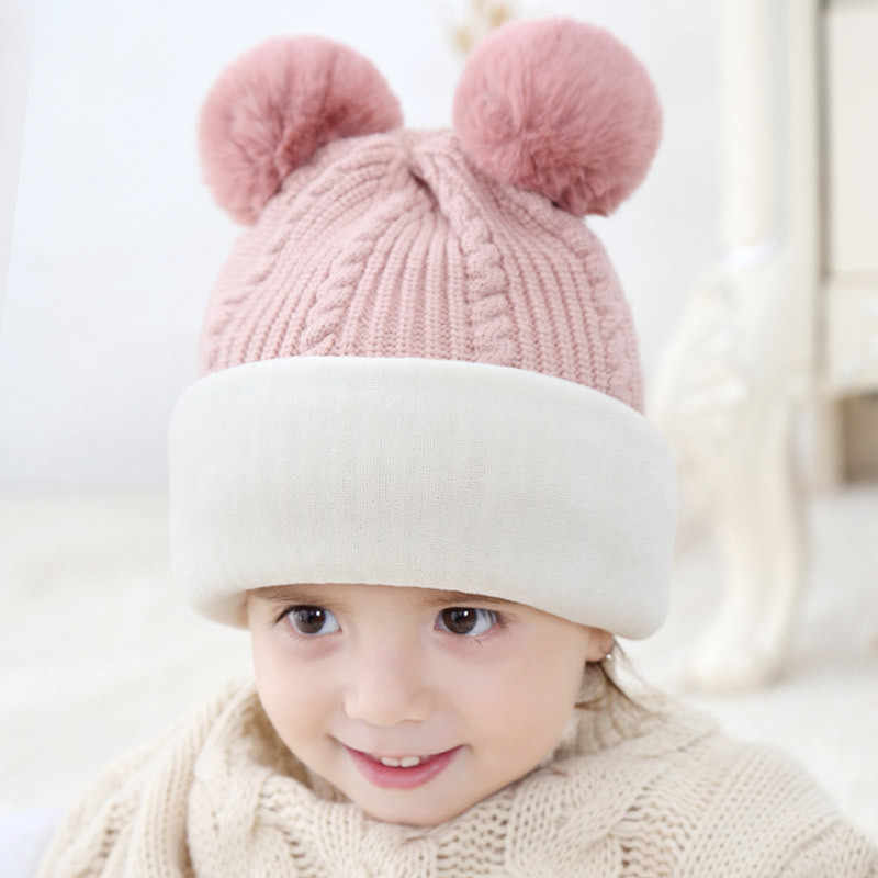 2494bc1236f ... Fashion Baby Hats with pompom balls Crochet Baby Hat with Hooded Scarf  Children Cap Collar Scarf ...