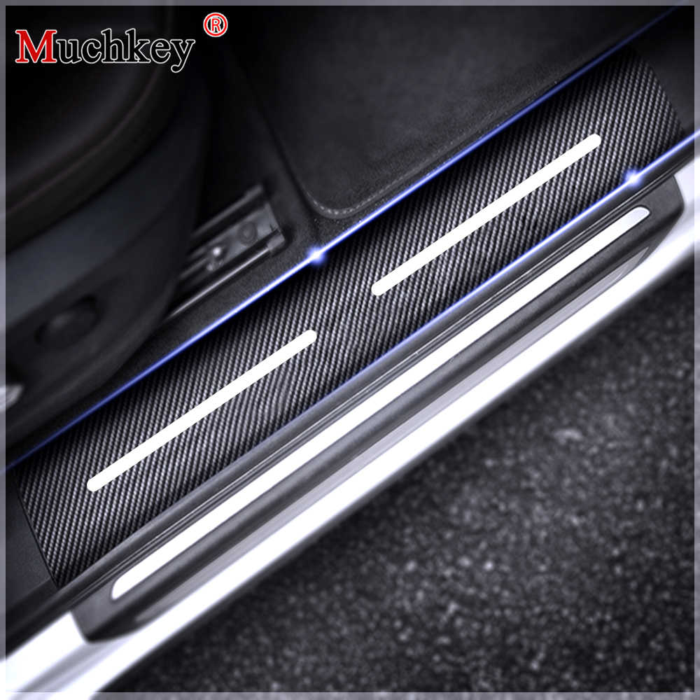 For fiat punto 4d carbon fiber sticker car door sill protector scuff plate stickers auto accessories