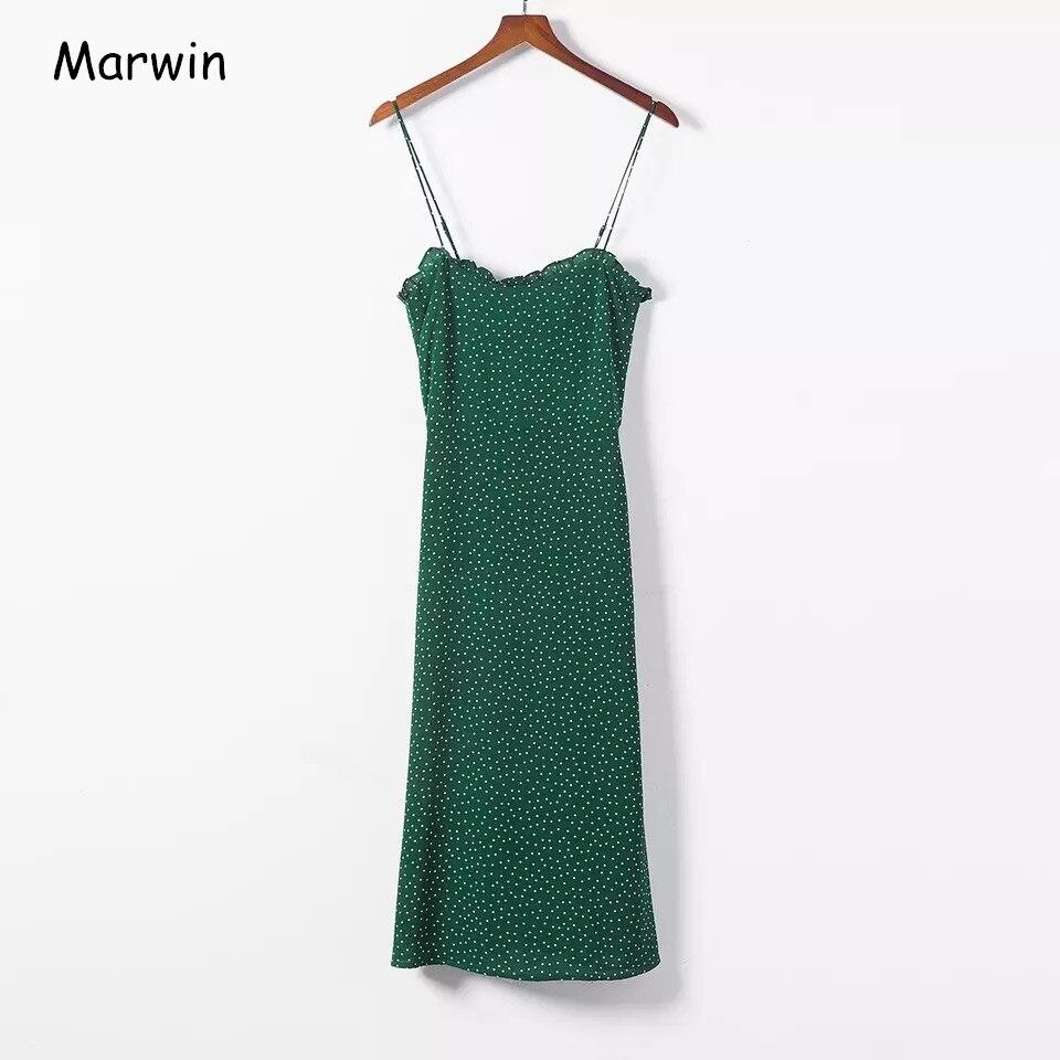 Женские кружевные платья Marwin, в горошек, темно-зеленого цвета, в европейском ретро стиле, на тонких бретельках, 2019