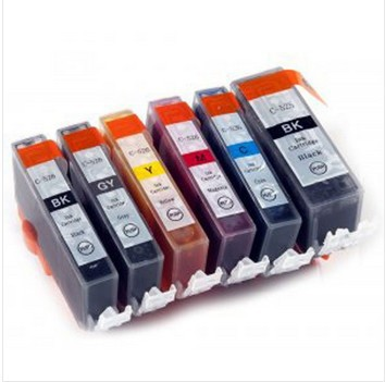 6 color PGI 525 CLI 526 BK C M Y GY compatible ink cartridge For canon PIXMA MG6150 MG6250 MG8150 MG8250 printer full ink