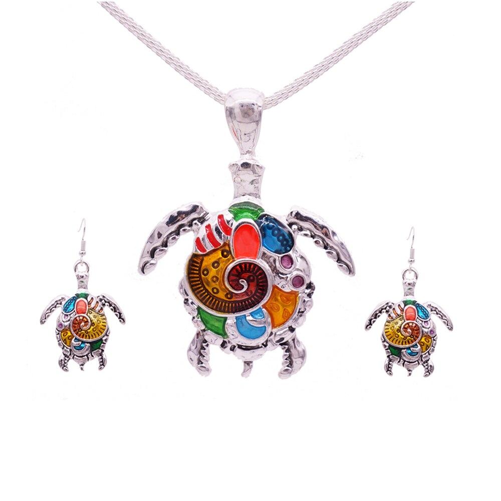 Enamel Turtle Jewelry Sets For Women Turtle Animal Necklace Earring Set Vintage Ethnic Sea Jewelry