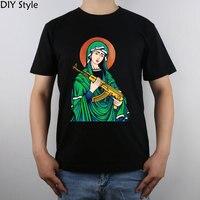 Blessed Virgin Mary Madonna Kalashnikov Gun t-shirt Top Pure Cotton Men T Shirt
