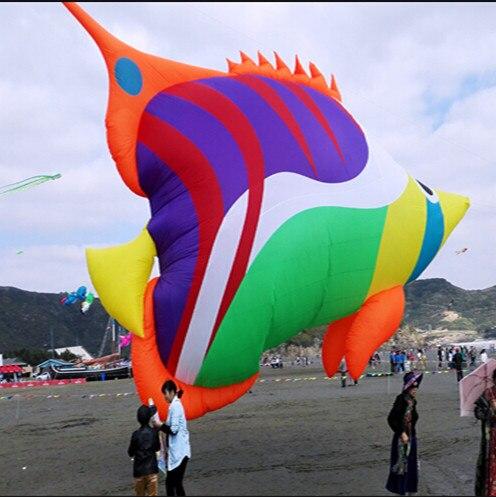 Sports d'amusement en plein air nouvelle haute qualité 8 m puissance douce gonflable multicolore poisson cerf-volant Ripstop Nylon tissu de HengDa cerf-volant usine